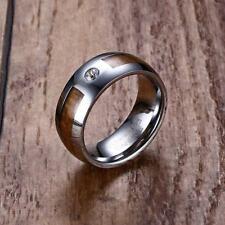8MM Mens Tungsten Carbide Wedding Ring Band Wood Grain Cubic Zirconia Inlay Gift