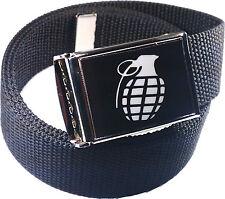 Grenade Belt Buckle Bottle Opener Adjustable Web Belt