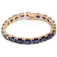 Sterling 925 Silver 14K Rose Gold Plated Natural Iolite Gemstone Tennis Bracelet
