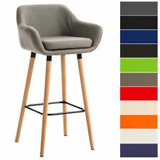 Tabouret bar GRANT chaise fauteuil accoudoir bois dossier similicuir repose-pied