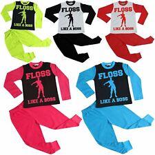Kids Girls Boys Designer Floss Like A Boss Print Pyjamas Loungewear PJS 2-13 Yrs