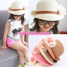 Children's Kids Sun Hat Summer Fashion Flower Dome Straw  Beach Cap For 3-7 Year