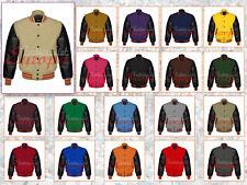 Genuine Leather Sleeve Letterman College Varsity Baseball Men Wool Jacket XS-7XL