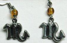 Zodiac earrings - Scorpio  (10/24-11/22) orange bead