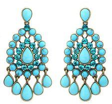Zest Oval Traditional Indian Chandelier Swarovski Crystal Pierced Earrings