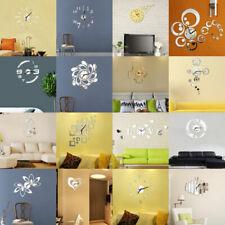 Modern DIY Wall Clock Acrylic 3D Mirror Surface Sticker Home Office Room Decor