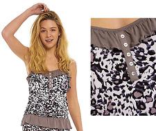 Ladies VISCOSE w Elastane Summer Vest Cami Top Leopard Print Sleeveless Pyjama