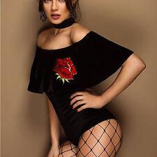 By Alina Body Damenbody Bandeau Top Bluse Oberteil Shirt Samt Rose XS-M
