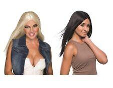 Adult 1990s Superstar Long Luxury Blonde or Black Wig Fancy Dress Disco Party