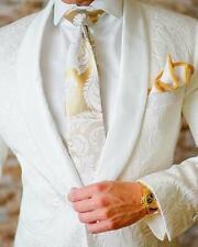 Men's White Jacquard Paisley One Button 3 Piece Tuxedo Wedding Suit Custom
