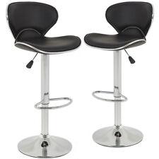 SET of 2 Bar Stools Black PU Leather Modern Hydraulic Swivel Dinning Chair B99