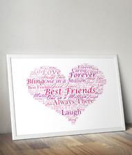 Best Friend Heart Word Art Print - Unique Personalised Gift - Heart Word Cloud