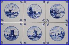 6Keramik Küchen Fliesen Delfter Art, Mühlen Schiff Leuchtturm, blau/weiß Kacheln