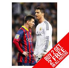 Messi & RONALDO POSTER A4/A3 taglia-acquista 2 ottenere qualsiasi 2 FREE