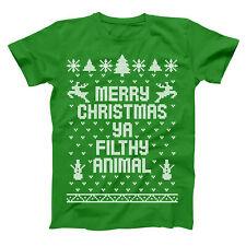 Merry Christmas Ya Filthy Animal Ugly  Sweater Green Basic Men's T-Shirt