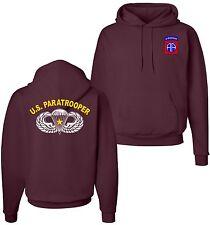 82nd Airborne Division COMBAT Jump Wings Paratrooper Maroon Hoodie Sweatshirt