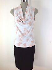 Andrew Marc NEW Beautiful Cream/Blush Floral Shawl Sleeveless Blouse size M,L,XL