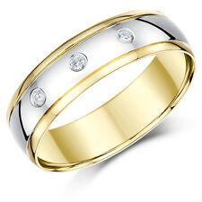 18 carats deux couleurs Anneau Or trois diamants en or blanc et jaune Bague 4mm