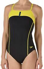 SPEEDO Bolt Splice Drill Back Swim Suit Black YELLOW Womens Sz 6 32 8 34