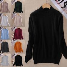 Women Cashmere Sweater Autumn Winter Knitted Turtleneck Pullover Warm Jumper U S