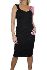 ICE (3996-1) Elegant Fully Lined  Brocade Dress With Flower Brooch Black 8-14