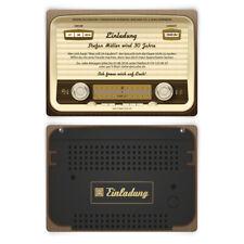Einladungen zum Geburtstag als altes Radio Vintage Retro 60er Einladungskarten