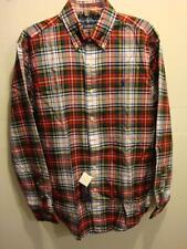 NWT NEW Men Ralph Lauren Plaid Classic Fit Button Front Shirt GREEN RED M,XL