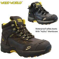 Mens WOOD WORLD Leather Waterproof Safety Steel Toe Cap Hiker Work Boots SZ 6-13