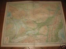 The Times Atlas Mapa ontario+quebec Bartholomew 1920
