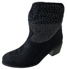 Ladies Negro Imitación Gamuza Con Tachas Slouch Zapato de Tacón Tobillo Botas De Vaquero Mujer Reino Unido 4-8