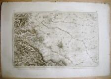 Gravure Carte d'Etat- Major de la ville de Reims, 1835