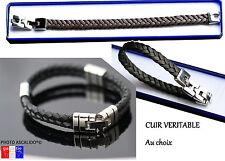 Bracelet en cuir véritable marron noir pour homme fermoir acier inox neuf 21cm
