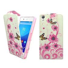 Sony Xperia Z3 más Blanco Rosa Remolino Flor Estampado de mariposa