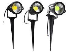 Faretto led cob 5 watt picchetto esterno giardino luce bianca 6500 k verde calda