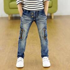Kids Boys Blue Denim Jeans Pants Pencil Elastic Waist Trousers Zipper Leggings