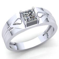 Genuine 1/3ct Princess Diamond Mens Solitaire Classic Wedding Band Ring 14K Gold