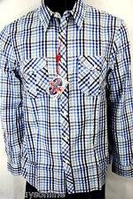 English Laundry Shirt 100% Cotton Blue Plaid Check