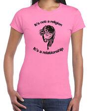 514 Its Relationship not a Religion womens T-shirt Jesus Christ bible God church