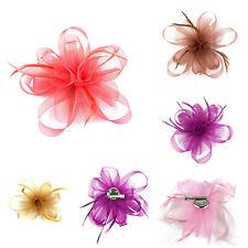 Flower Feather Fascinator Loop Beak Hair Clip Brooch Pin Ladies Day Ascot Races