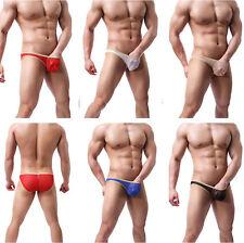 Floral Men's Mesh See-through Bikini Briefs Lace Pouch Panties Thongs Underwear