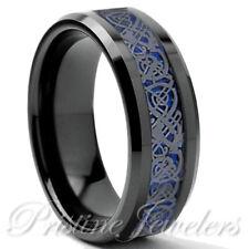 Black Tungsten Carbide Mens Ring Gunmetal Silver Celtic Dragon Blue Carbon Band