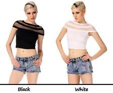 Round Neck Cap Sleeve Short Blouse Mesh Splice Slim Crop Top M L XL
