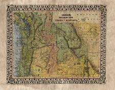 102 Oregon Washington Idaho Part of Montana vintage historic antique map print