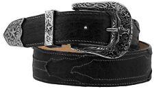 Mens Black Grain Leather Overlay Western Cowboy Belt Silver Buckle