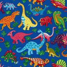 Fat Quarter Dinosaur Dance on Blue Cotton Quilting Fabric Nutex