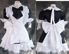 a-023 Schwarz kurz LOLITA MAID Uniform Cosplay Kostüm Kleid Zofe