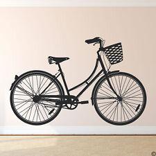 Cruiser Bike Wall Decal Women's Bicycle with Basket home decor wall art K562