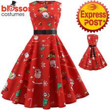 K718 Red Santa Christmas Vintage Swing Flare Dress 50s Snowflake Xmas Rockabilly
