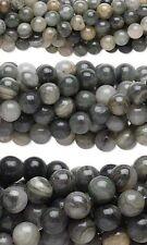 Bulk Lot of 10, 16 inch Strands Round Green Line Jasper Natural Gemstone Beads
