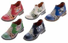 Donna Pelle Comfort caviglia scarpe TMA 5195 metà NERO-GRIGIO BLU stivali